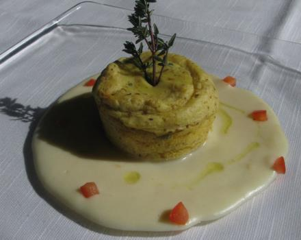 Potato Flan with Porcini Mushrooms and Parmesan Cheese Fondue
