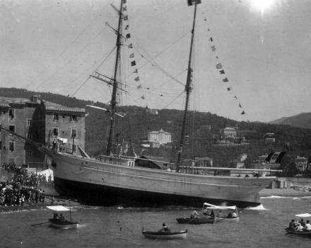 The Launching of a Ship in Santa Margherita